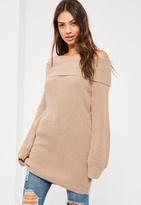 Missguided Nude High Neck Oversized Sweater