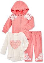 Nannette 3-Pc. Hoodie, Top & Pants Set, Baby Girls (0-24 months)