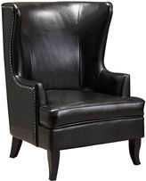 Asstd National Brand Canton High-Back Bonded Leather Wing Chair with Nailhead Trim