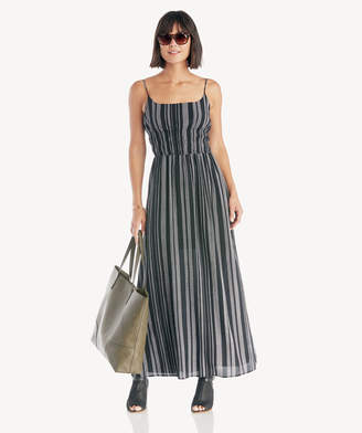 1 STATE Women's Cinched Waist Checker Grid Maxi Dress In Color: Rich Black Size XS From Sole Society