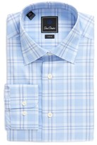 David Donahue Men's Trim Fit Plaid Dress Shirt