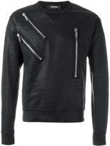 DSQUARED2 varnished zip detail sweatshirt