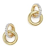 Adina 14K Yellow Gold Pave Diamond Interlocking Loop Stud Earrings