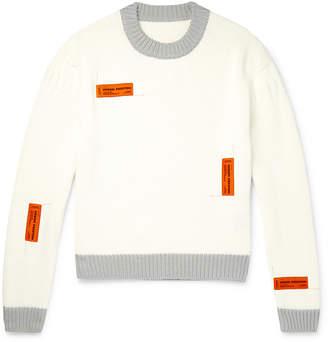 Heron Preston Logo-Appliqued Contrast-Tipped Cotton Sweater