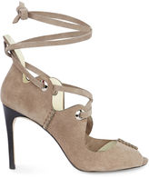 Karen Millen Suede Lace-up Sandals - Taupe