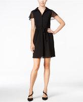 Kensie Flutter-Sleeve Polka-Dot Dress