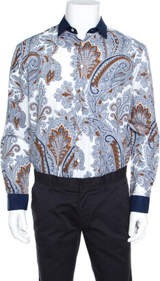 Etro Paisley Print Cotton Contrast Collar and Cuff Detail Button Front Shirt L