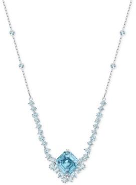 "Swarovski Silver-Tone Square Crystal Pendant Necklace, 14-7/8"" + 2"" extender"