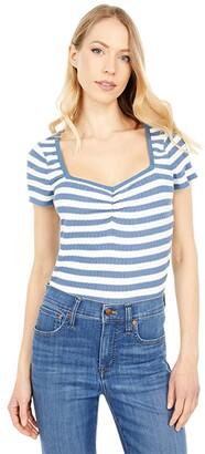 Madewell Short Sleeve Sweetheard Neck Tee in Stripe (Distant Ocean) Women's Clothing