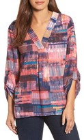 Chaus Women's Colorful Canvas Roll Sleeve Blouse