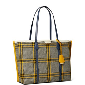 Tory Burch Perry Plaid Triple-Compartment Tote Bag
