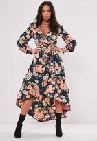 Missguided Navy Wrap Floral Print Long Sleeve Midi Dress