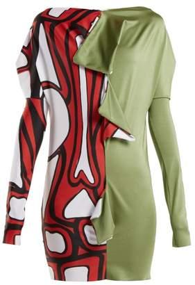 Matty Bovan - Draped Panelled Stretch Jersey Top - Womens - Khaki Multi