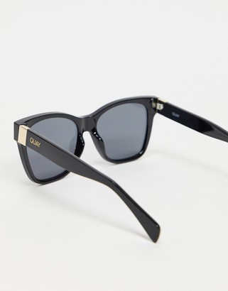 Quay After Party womens square sunglasses in black