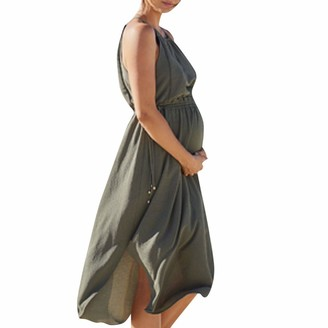So Buts Maternity Dress SO-buts Women Sleeveless Summer Pregnant Solid Color Loose Breastfeeding Sexy Beach Sling Maternity Dresses (Green L)