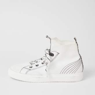 River Island Womens White contrast stitch high top knit trainers