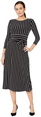 Lauren Ralph Lauren Striped Jersey Dress (Black/Colonial Cream/Cannes Blue) Women's Dress