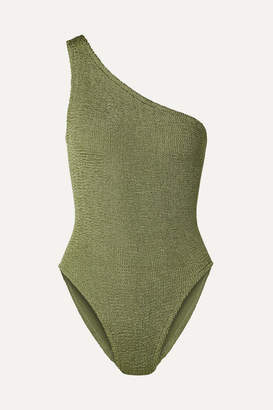 Hunza G Nancy One-shoulder Seersucker Swimsuit - Army green