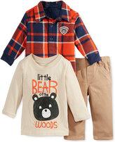 Nannette 3-Pc. Plaid Jacket, Bear T-Shirt & Pants Set, Baby Boys (0-24 months)