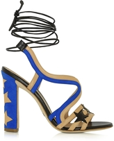 Paula Cademartori Starry Beige & Blue Leather and Suede Sandal