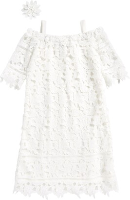 Ava & Yelly Lace Cold Shoulder Shift Dress