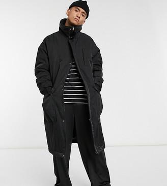 Reclaimed Vintage inspired unisex long puffer jacket in black