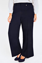 Yours Clothing Navy Wide Leg Trousers With Gold Trim