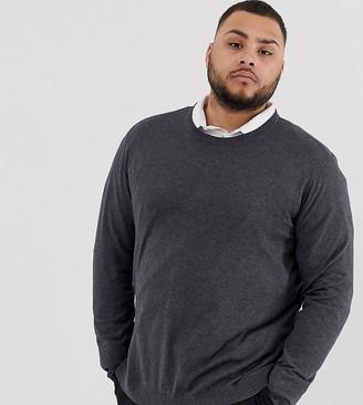ASOS DESIGN Plus crew neck cotton sweater in charcoal