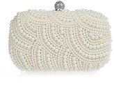 TopTie Elegant Pearl Overlay Hard Case Clutch, Beaded Wedding Bag