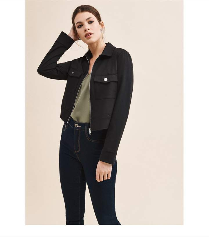 Dynamite Cropped Zip Front Jacket - FINAL SALE Jet Black
