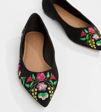 Asos Design DESIGN Lantana Wide Fit Embroidered Pointed Ballet Flats-Black