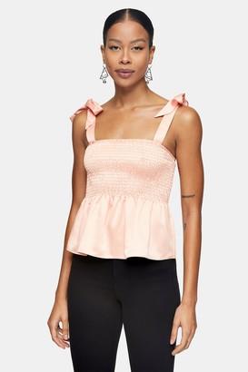 Topshop Peach Tie Shoulder Shirred Top
