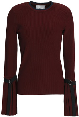 3.1 Phillip Lim Grosgrain-trimmed Ribbed-knit Sweater