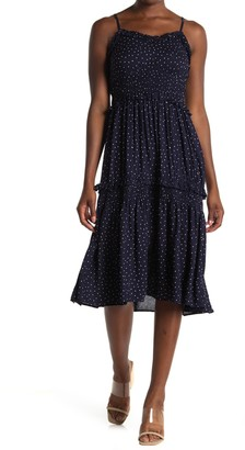 Angie Dot Print Smocked Tiered Midi Dress