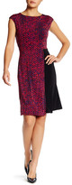 Ellen Tracy Chevron Print Contrast A-Line Dress
