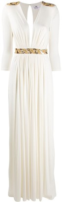 Elisabetta Franchi deep-v sequin-embroidered dress