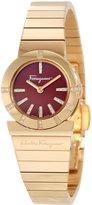 Salvatore Ferragamo Women's F70SBQ5108i S080 Gancino Gold IP Red Enamel Diamond Watch