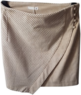 Supertrash Beige Leather Skirt for Women