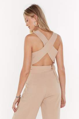 Nasty Gal Womens Cross Back Crop Co-Ord Top - Beige - 8, Beige