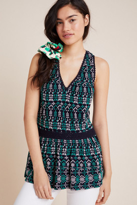 Maeve Cammie Embroidered Peplum Top