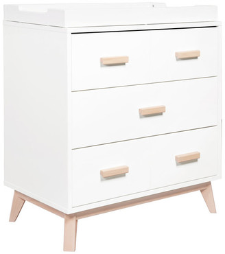 Babyletto Scoot 3-Drawer Changer Dresser, White/ Washed Natural