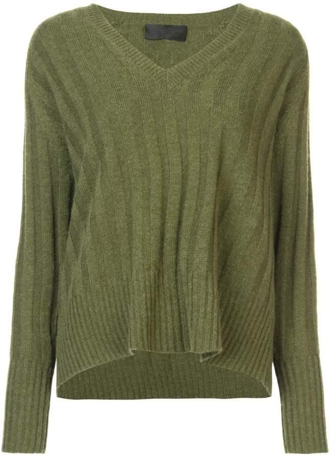 Nili Lotan ribbed detail V-neck sweater