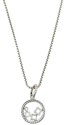 David Yurman 925 Sterling Silver 14K Yellow Gold Diamond Quatrefoil Pendant Necklace