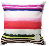 Kristi Kohut Vibrant Stripe 18x18 Linen Pillow, Red