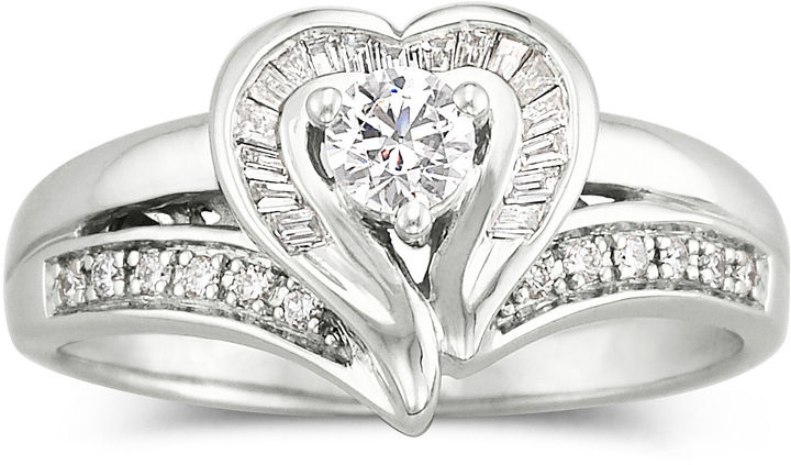 JCPenney FINE JEWELRY I Said Yes 3/8 CT. T.W. Certified Diamond Heart Bridal Ring