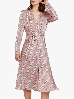 Ghost Meryl Ditsy Floral Satin Tie Waist Dress, Neutral