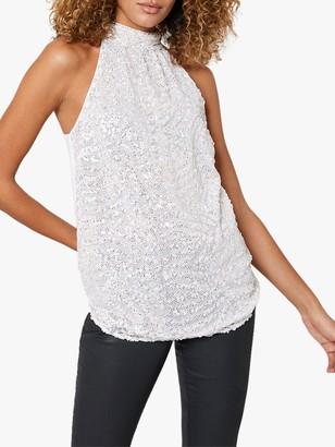 Mint Velvet Halter Neck Embellished Top, Off-White