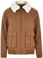 River Island Mens Brown wool-blend harrington jacket