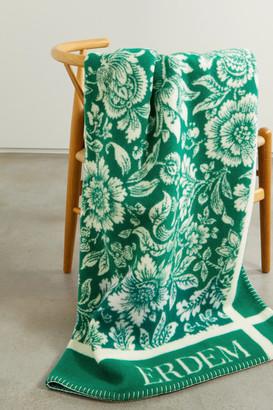 Erdem Intarsia Merino Wool And Cashmere-blend Blanket - Green