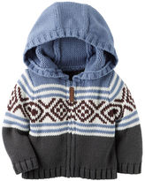 Carter's Hooded Zip-Front Fair Isle Cardigan